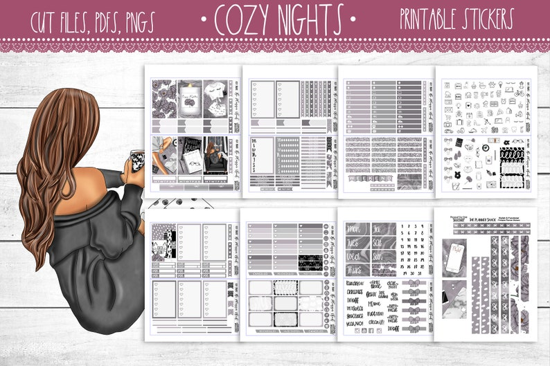 Cozy Nights   Big Happy Planner  Printable Planner Stickers image 0
