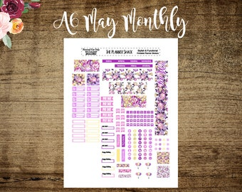 A6 Tn May Monthly Layout | Printable | A6 TN | May Monthly | Printables | Annie Plans Printables | Travelers Notebook | Monthly View