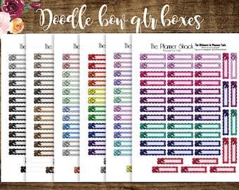 Doodle Bow Qtr Boxes   2017 Big Happy Planner   Printable Planner Stickers   Planner Printables   Bows   Bow Boxes   Printables   Big HP