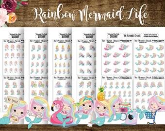 Rainbow Mermaid Tasks | Printable Planner Stickers | Planner Printables | Mermaids | Mermaid Life | Daily Tasks | Weekly Tasks | Cut Files