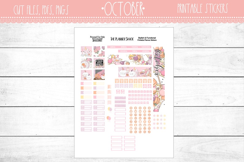 photograph about Annie Plans Printables called A6 Oct Month-to-month Regular monthly Impression Printable Planner Stickers Planner Printables Oct AnniePlansPrintables Halloween Month-to-month