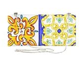 Tiles inspired handbag, vegan shoulder bag, Handpainted bag, no leather purse bag, Sorrento tiles, No Nickel, bag with chain, bridal bag