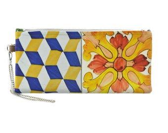 Handpainted Tiles wristlet bag