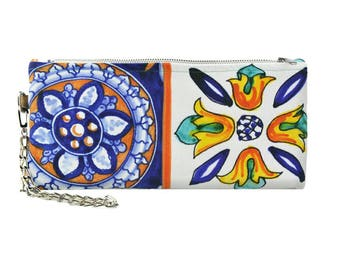 Wristlet bag, Traditional Costiera Amalfitana tiles inspired bag, Mikibag, Made in Italy, no nickel