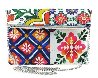 Artistic tiles painted on a crossbody bag