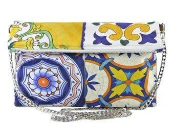Italian hand painted tiles folding bag