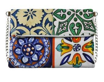 Cross body bag, Mikibag Made in Italy, tiles,  bag, Sorrento tiles inspired Shoulder bag