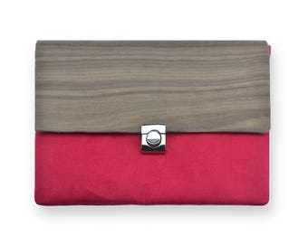 Wood fabric Handbag, red colored purse, Made in Italy, Bag made of wood fabric, Vegan handbag, Clutch made of wood
