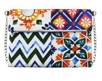Canvas Crossbody bag, Folding bag, Vegan handbag, No Nickel Chain, Zip bag, Italian Tiles inspired art, Positano style bag, Color Clutch