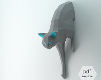 Half cat coming out of the wall: DIY this lowpoly 3D papercraft sculpture from PDF pattern + step by step tutorial, Beginner friendly decor