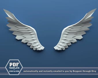 Wings Papercraft, Paper angel wings, Pegasus wings, Do it yourself, PDF papercraft pattern, cardstock model, bird lover, CHALLENGING MODEL