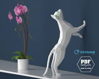 Cat Papercraft, 3D PDF Template, Papercraft Animals, Low Poly DIY, DIY Paper 3D Art, Diy Paper Statue, Papercrafting, Perfect on a desk!