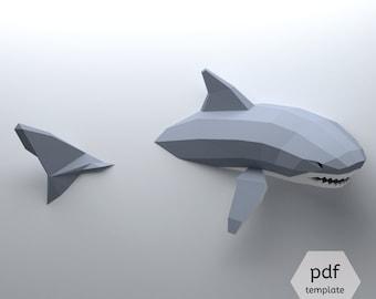 Low Poly Shark Model, Create Your Own 3D Papercraft Shark, Origami Shark, Great White Shark, Shark Lover, Shark Week, Cool Dorm Decor