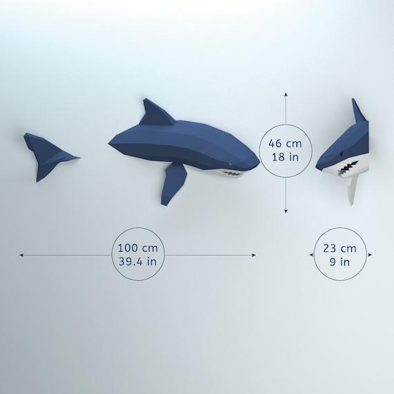 DIY template Shark Shark Lover Origami Shark Instant Pdf download Shark lowpoly Shark paper wall decoration