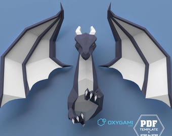 DIY papercraft dragon: Turn this printable PDF pattern into an impressive 3D paper mythical creature to decorate your kid's walls (Beginner)