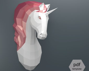 PDF Unicorn Pattern (Papercraft), Make Your Own Papercraft Unicorn Trophy: Faux Taxidermy Unicorn Template, DIY Unicorn Head, 3D Puzzle