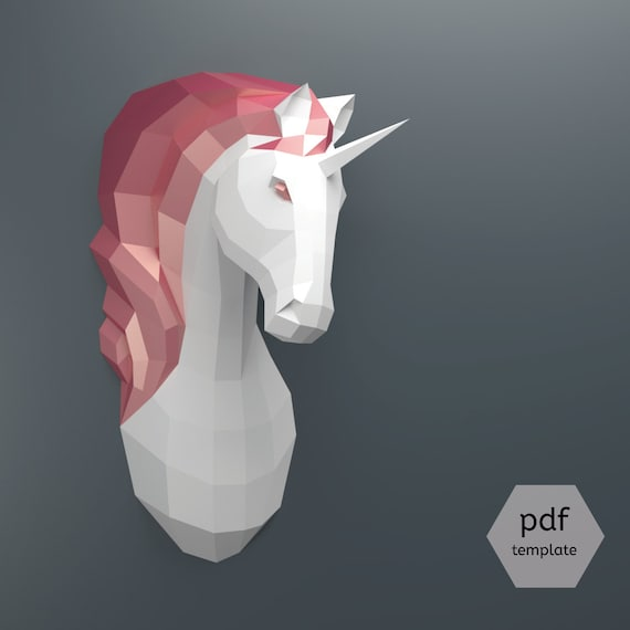Modele De Licorne Pdf Papercraft Make Your Own Papercraft Etsy