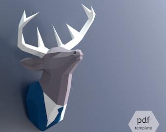 Papercraft Deer Head, Make Your Own Trophy, Paper Trophy, Pdf Papercraft, Stag Head, Deer Head Wall Mount, Paper Animal Head, Deer In Suit