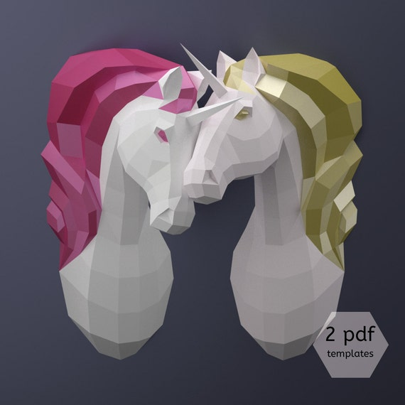 Couple Of Unicorns Diy Paper Unicorns Printable Pdf Etsy
