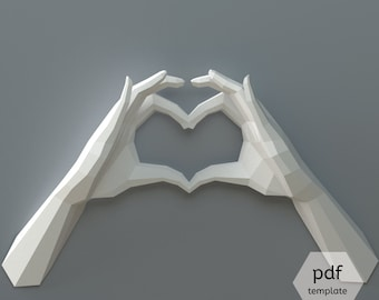 PDF Papercraft Hands, Heart Hands, Declaration of Love, DIY Wedding Decor, Valentine's Day, Origami Heart Hands, I love You, 1st Anniversary
