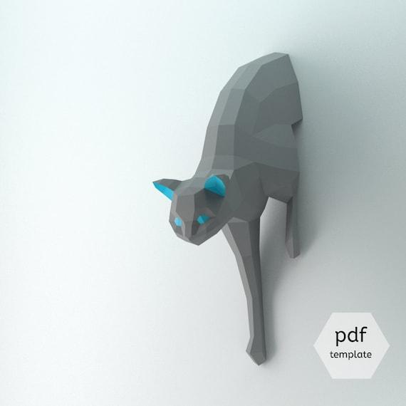 DIY Lowpoly Cat DIY Kitten Template Cat Tutorial 3D Cat | Etsy