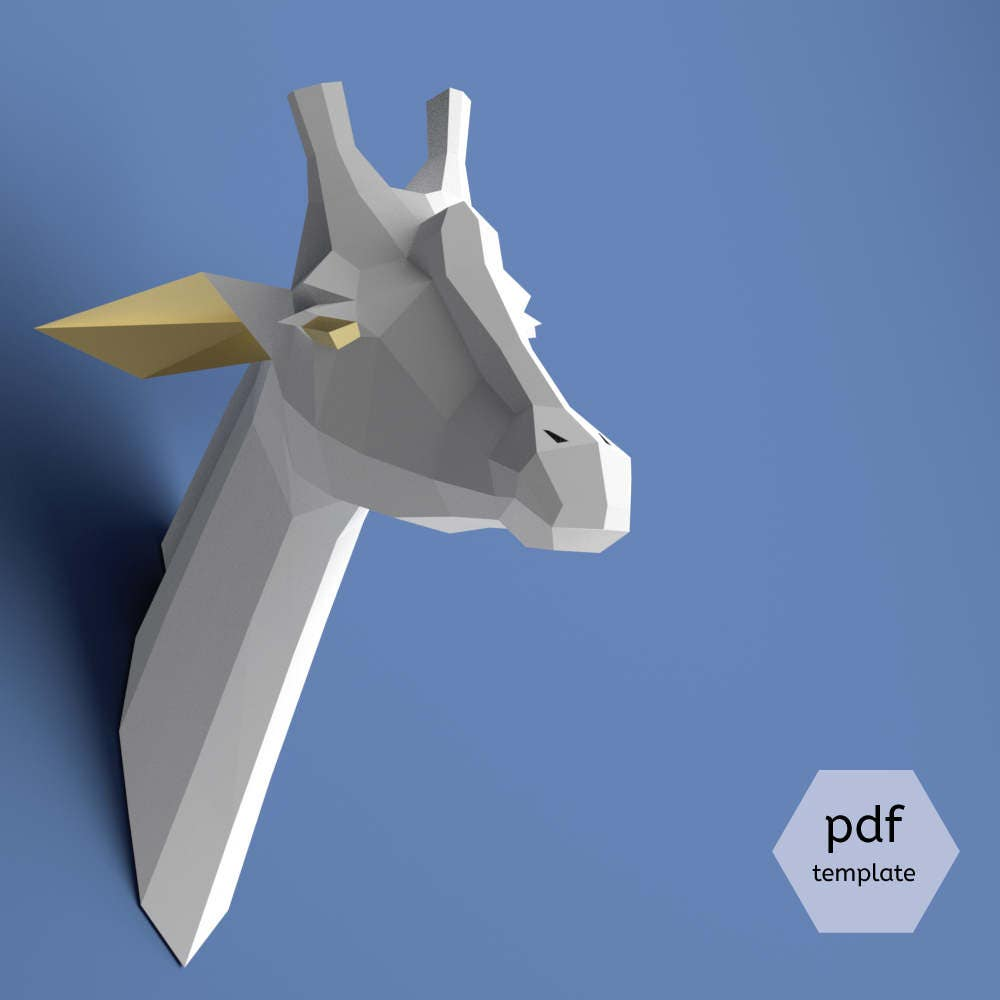 Paper giraffe trophy, Giraffe head, Download, Paper craft animal, Faux  taxidermy head, 3D model papercraft, DIY lowpoly, DIY paper sculpture