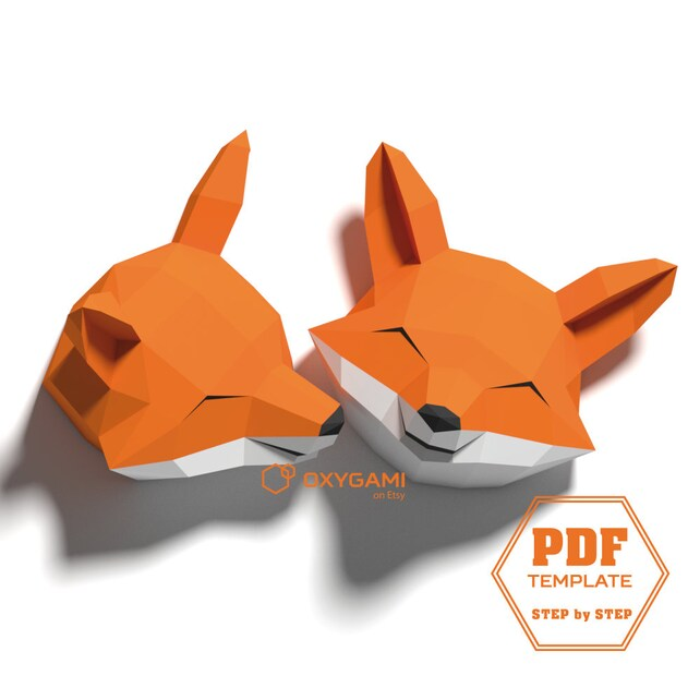 Fox Papercraft 3d Animal Wall Decor 2 Fox Head Patterns With Etsy