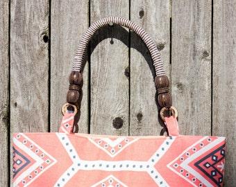 Tribal Print Tote Bag, Hand Bag, Beach Bag, Summer Bag, Summer Tote, Gift For Her, Sale