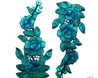 Floral embroidered applique turquoise