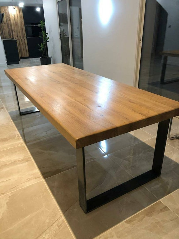 Table Chene Massif Moderne.Table Chene Massif Pied En Metal Style Industriel Et Moderne