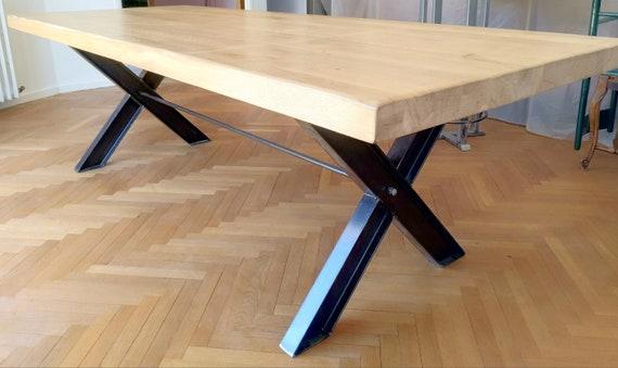 Table Style Industriel Bois Et Metal Pied En Ipn Plateau Chene Massif