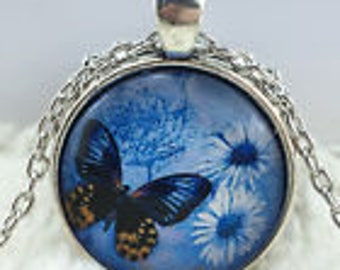 Blue Butterfly Cabochon Necklace