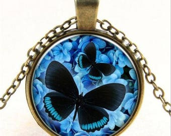 Black and Blue Butterfly Cabochon Necklace