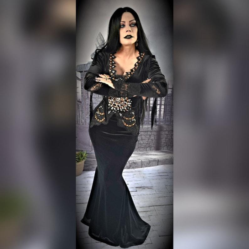Morticia Addams dress  Addams family cosplay costume for image 0