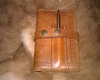 Leather note book cover with strap and Nice Silver Parker pen