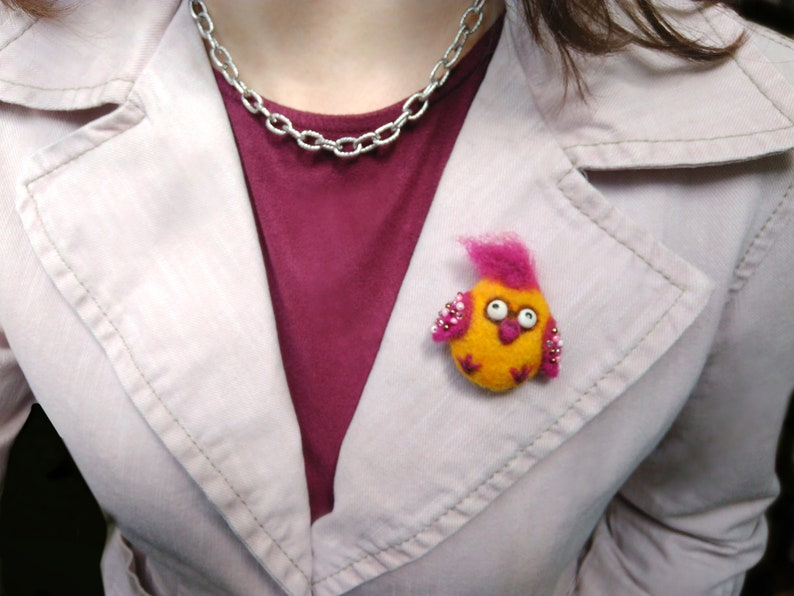 Funny Little Bird brooch Needle felted Yellow Birdie brooch Backpack pin Bag brooch Comic Crazy Chick Felt brooch Funny girl gift