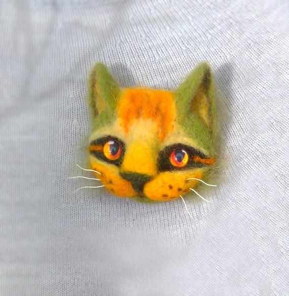 Needle Felted Cat Head Brooch Sat Lover Gift Felted Cat Brooch Etsy