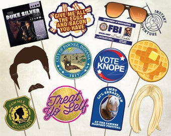 Pawnee Photo Booth Props -Digital Download - Printable Party Decoration Indiana Parks and Recreation Dept Knope Ron Swanson Lil Burt Macklin