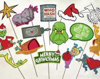 The Grinch Cartoon Photo Booth Props - Digital Download - Printable Dr. Seuss Whoville Roast Beast Cindy Lou Who Christmas Classic Film