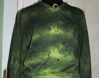 Hand dyed jungle forest green cotton knit size S-L