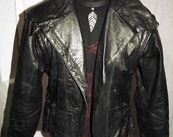 c9651c550d5 Vintage black distressed 80 s biker winter jacket size S-M   38