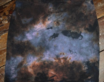 Hand dyed hand painted dark brown blue galaxy  mini skirt size L