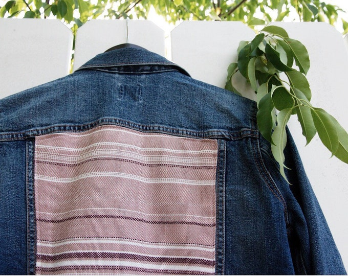 Medium Women's Denim Jacket - Handwoven Back Panel