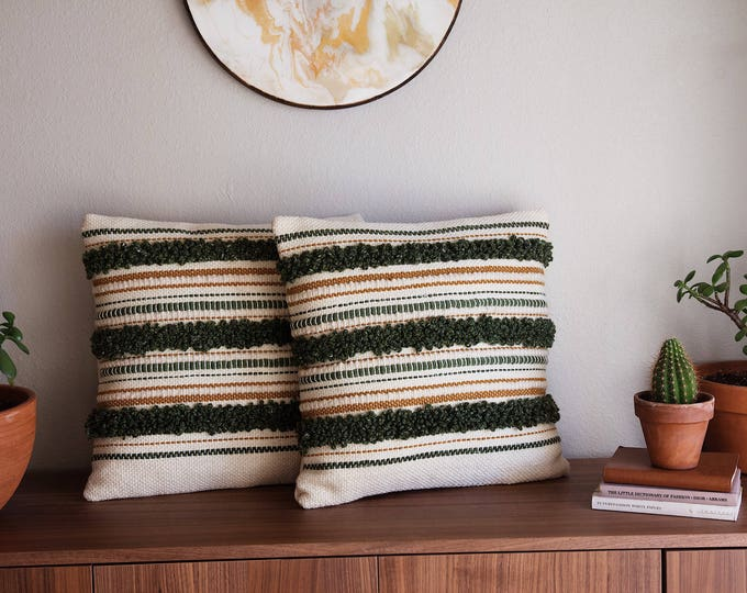 Green & Cream Throw Pillow