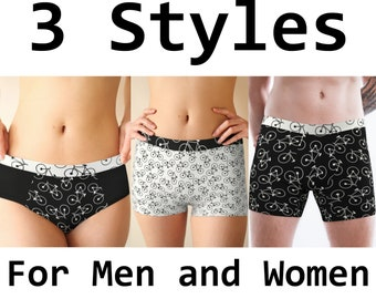 fd9414cc2cb4 Men Women Underwear, Bicycle Bike, Matching Briefs Boxers Boy Shorts  Boyshorts, His Hers, Couples Anniversary Gift, Boyfriend Girlfriend