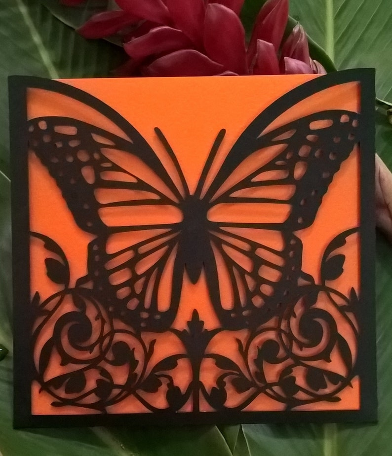Download Monarch Butterfly Envelope SVG Template Cutting File ...