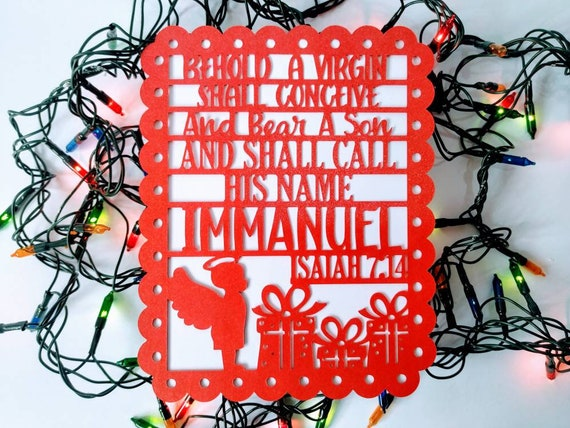 SVG Cricut Christmas Card Bible verse Isaiah 7:14 Template Two Layers Cards Silhouete Cameo DXF Laser Cut File Christmas His Name Immanuel
