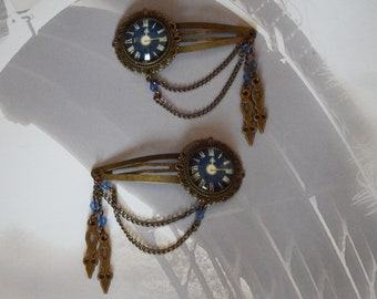 Hair Grips (PAIR), in Bronze and Blue, Victorian/ Steampunk hair grips/ bobby pins/ hair pins/ hair clips/ hair accessory, with clock image