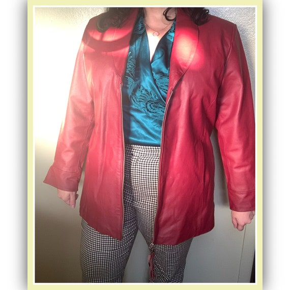 90's Brick Red Leather Jacket Suzanne Somers Colle