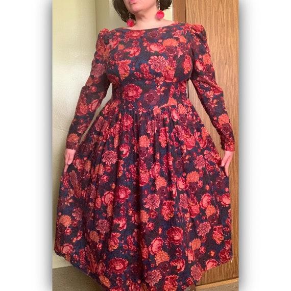 Vintage Floral Print Corduroy Laura Ashley Dress